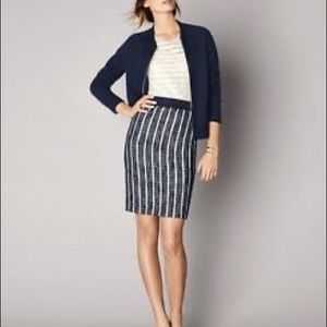 Ann Taylor Tweed Striped Pencil Skirt Petite 0P